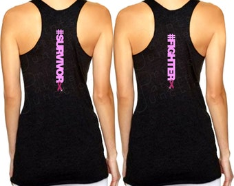Breast Cancer Hashtag Survivor/Fighter Tank Top/Workout Tank Top, Breast Cancer Awareness Workout Tank, #Survivor, #Fighter Shirt