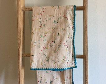 Crochet Edge Baby Blanket - Floral Blue