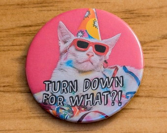 Party Cat Pinback Button - Turn Down for What?! Pin