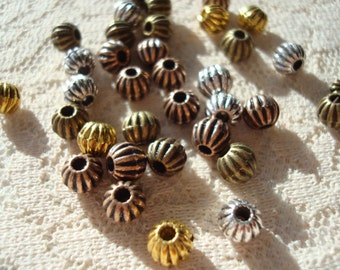 6mm Big Round Fluted Pumpkin Spacer. 30pc. 4 Antiqued Colors or Mix!  Solid, Heavy, Corrugated Metal Ball Spacer. Holes 1.7mm. ~USPS Rates