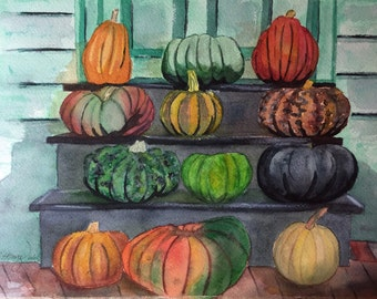 Pumpkin Fall Watercolor, Pumpkins Watercolor, Pumpkin Original Artwork, Original Pumpkin Painting, Gourd Watercolor, Original Artwork