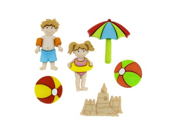 Day At The Beach Jesse James Buttons, Striped Beach Ball, Umbrella, Children Swimming, Sand Castle, Family Fun, Red Orange Yellow Green Blue