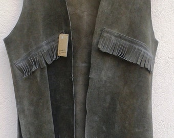 vintage 70s VEST Fringed SUEDEgrey brown Waistcoat 1970s VINTAGE real leather Vest men's  S M Unisex Suede Fringed Leather Vest