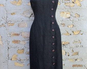 Linen Maxi Dress in Black by Maggy London - Size 8