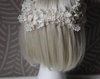 Porcelain bride tiara,bridal crown, off white crown, flowers crown in off white,porcelain flowers handmade,bridal headpiece,bridal hair comb
