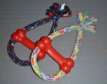 Fleece rope dog toy with bone medium large