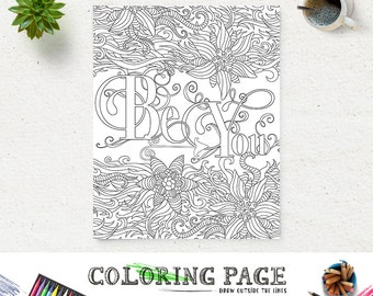 be you printable coloring page printable quote instant download art zen printable adult coloring pages anti - Therapy Coloring Pages Printable