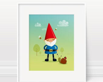 Garden gnome wall art - illustration print 5x7, 8x10 & 11x14