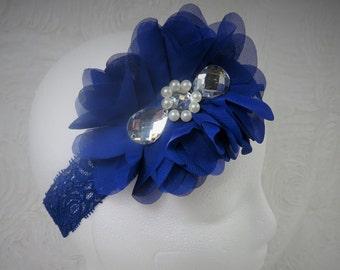 Navy Blue Headband, Baby Girl Headband, Baby Flower Headband, Newborn Headband, Baby Girl, Little Girl Headband, Flower Headband, Chiffon