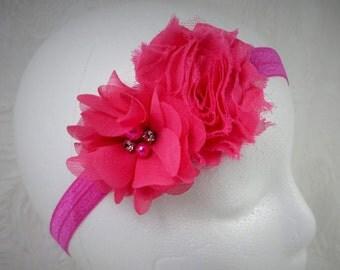 Fuchsia Baby Headband, Baby Girl Headband, Baby Flower Headband, Newborn Headband, Little Girl Headband, Pink Flower Headband, Shabby Chic
