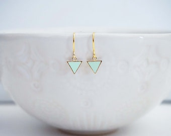Mint and Gold Mini Geo Earrings