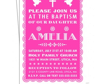 Baptism Fiesta Invitation, Papel Picado First Holy Communion Invitation, You Print, Confirmation Fiesta Invitation