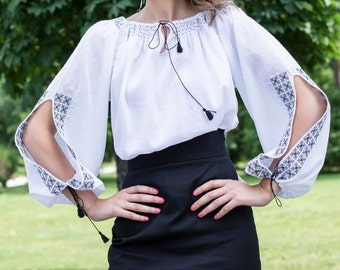 Traditional Romanian Blouse with Slit Sleeve