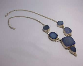 Gorgeous Sterling Silver Blue Agate Druzy Statement Necklace