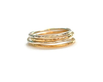 Stackable Rings, Thin Band Rings, Gold and Silver Stacking Ring Set, Hammered Rings, Skinny Rings