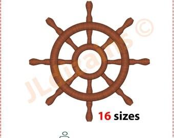 Ship Wheel Embroidery Design. Boat wheel embroidery. Yacht wheel embroidery. Sailboat wheel embroidery. Wheel.  Machine embroidery design