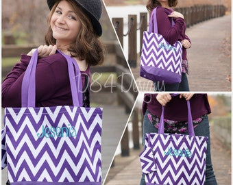 Monogrammed Purple Chevron Pattern Tote Bag with Velcro Closure - You Choose Font and Color - Name or Initials