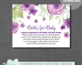 Purple Watercolor Floral Books For Baby, Baby Shower Insert Card, Bring A Book For The Baby, Baby Shower Game, Instant Download, Girl, 008A