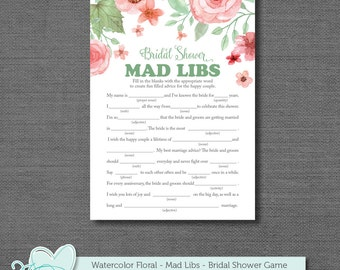 Bridal Shower Mad Libs Game, Mad Libs, Bridal Shower Game, Printable Bridal Shower Game, Instant Download, Watercolor Floral, Flowers, 005A