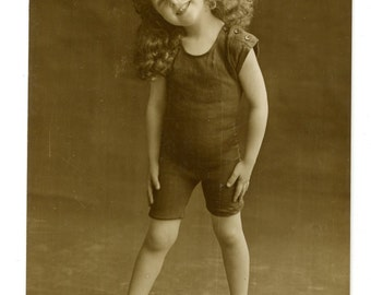 1900s Little Girl in Swimsuit Postcard Hand Tinted Antique Vintage RPPC Victorian Edwardian