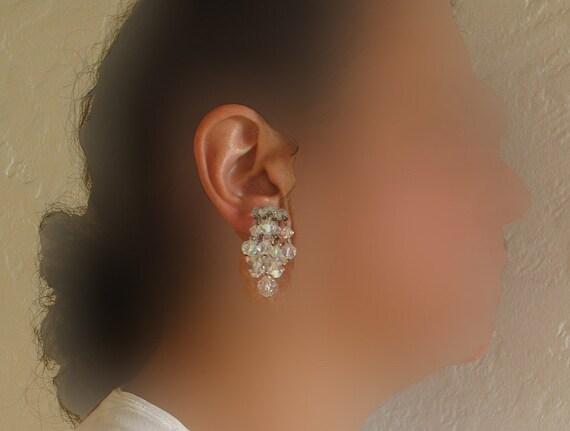 Crystal cascade earrings, vintage fire glass rainbow crystal beads,  fire glass beads, vintage crystal earrings, jewel glass party earrings