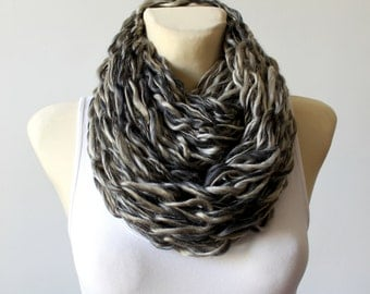 Gray Knit Scarf Knit Infinity Scarf Chunky Knit Scarf Oversized Knitting Unique Handmade Scarves Gift for Her Womens Gift Christmas Gift Mom