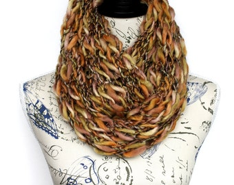 Brown Knit Cowl Knitted Scarf Knit Loop Scarf Crochet Shawl Knit Circle Scarf Knit Infinity Scarf Finger Knit Scarf Oversized Knitting