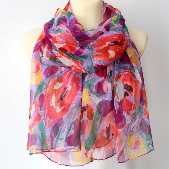 Silk Floral Chiffon Scarf - Mothers Day Gift Idea for Her - Multicolor Fashion Shawl - Unique Fabric Scarf - Boho  Women Accessories