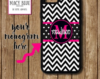 BW Chevron iPhone 6 Case, Pink Chevron iPhone 6 Plus case, Black and White Chevron case, iPhone 6/6s, Monogram iPhone Case, iPhone 7 case