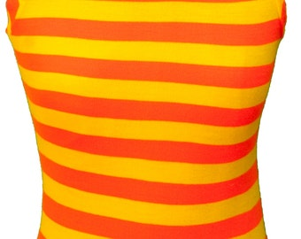 1960s Blouse Top Orange Striped Turtleneck Kawaii Plus Size Mod Yellow Candy Corn Halloween Neon Circus Rave Clown Burning Man Black Light