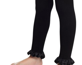Footless tights, baby girl ruffle leggings, girls ruffle tights, girls leggings, black leggings, denim leggings, black tights, ruffle tights