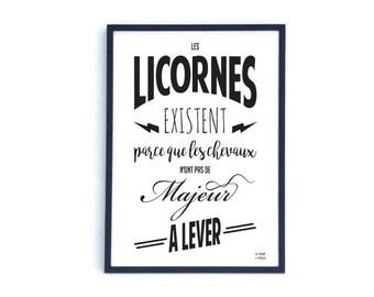 Affiche licorne cheval d guis en licorne par for Affiche decoration cuisine