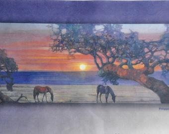 Decoupage Rice Paper. Horses Scenery Paper. Thin Rice Paper. Decorative Paper. Scrapbooking Paper - Horses P118G