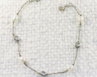 Vintage Sterling Silver Pearls and Crystals Anklet Bracelet Ankle Bracelet