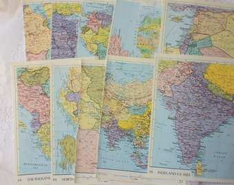 Set of 14 Atlas Pages, set of 14 map pages,  world atlas pages, vintage atlas, vintage map pages, small map pages