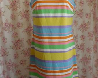 Vintage Shift Dress Pastel Stripe Polyester Color Block Summer Sleeveless Uniform Romper