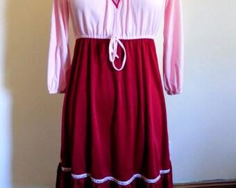60s Dress, Boho, Hippie, Gypsy, 1960s Dress, Swiss Miss, Red and Pink Dress, Size Medium, Womens Vintage Clothing, Tea Length