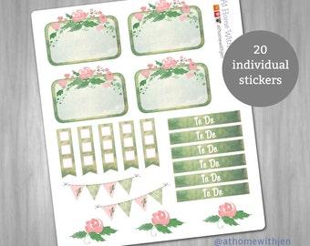 Watercolor rose planner sticker sampler  for your Erin Condren Life Planner, Plum Planner, Filoflax, calendar or scrapbook