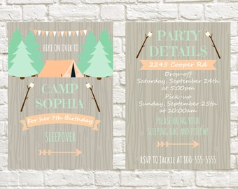 Birthday Invitation Camping Sleepover Theme Birthday Invite Camp Birthday Theme Printable Invitation