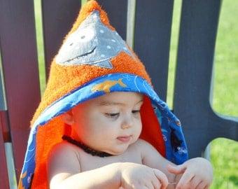 Shark Hooded Towel/ Custom Hooded Towel/ Kids Hooded Towel/ Beach Towel/ Bath Towel,  embroidery design, towels for kids, towel for baby