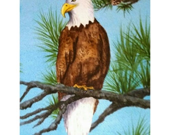 16x20 Original Watercolor Eagle,   Eagles, birds of prey, Wildlife, National Bird, home décor, wall hanging