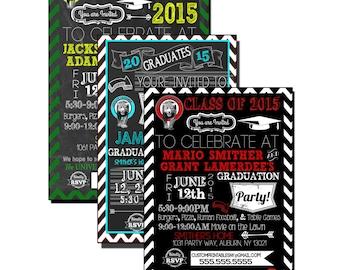 double graduation invite, modern chevron grad party invitations, school logo graduation invites, boy graduation party invite INVGRD04