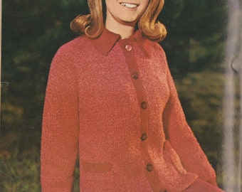 Vintage 1969 crochet sweater cardigan button up pattern download