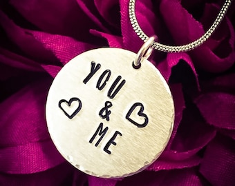You & Me Hand Stamped Necklace/Pendant. Love Necklace, Love Jewellery, Heart Necklace, Couple, Soulmate, Girlfriend Gift, Aluminium Necklace