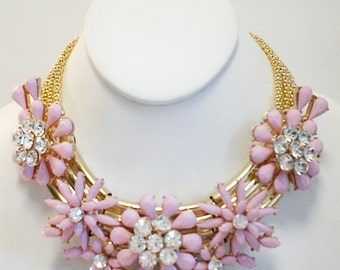 Pink Flowers with Crystal Clear Necklace / Gold and Pink Flowers Crystal Clear Necklace.