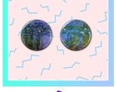 """Water Lillies 1 1/4"""" Button Pair Claude Monet"""