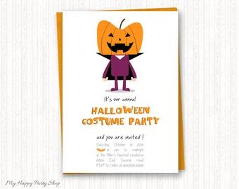 """Halloween Invitation - PRINTABLE, Adult Halloween party invitation, Kids Halloween costume party invitation -  5""""x7"""", Pumpkin Invitation"""