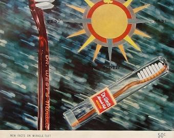 1948 Dr. West's Toothbrush Vintage Advertisement Bathroom Wall Art Dentist Office Decor Original Magazine Print Ad Dental Paper Ephemera