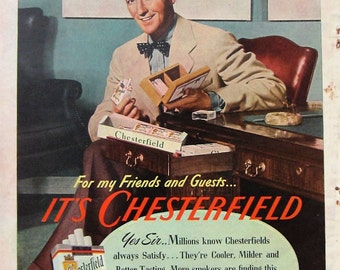 1944 Chesterfield Cigarettes Vintage Advertisement Bing Crosby Man Cave Wall Art Bar Decor Hollywood Movie Star Art Original Magazine Ad