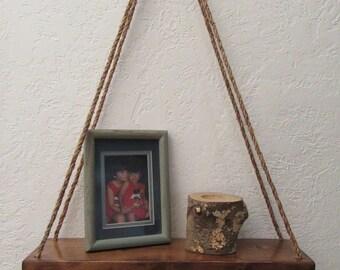 Natural jute rustic macrame hanging shelf